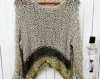 Women Loose Knit Sweater  Hand Knitted