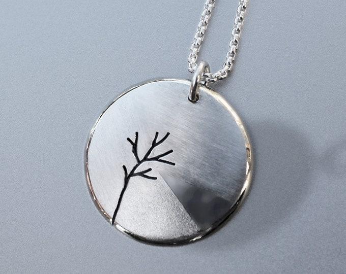 Lakeside, Tree Pendant,  Silver Jewelry, Silver Pendant, Necklace.