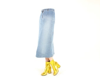 90s Lightwash Denim Grunge High Waist Midi Skirt