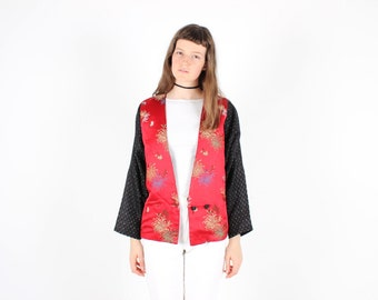 Incredible 90s ORIENTAL OPIUM DEN Avant Garde Boxy Dramatic Batwing / Dolman Sleeve Chinese Kimono Jacket