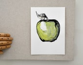 Original apple ink drawing- Modern art fruit color drawing paper ink green kitchen wall decor art dinner room illustration fruit