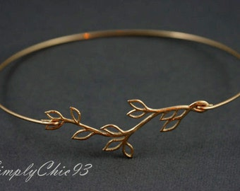 Gold Bangle, Silver Bangle, Bracelet, Leaf, Branch, Olive Branch, Greek, Open branch gold bangle bracelet