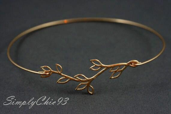 Gold Bangle, Silver Bangle, Bracelet, Leaf, Branch, Olive Branch, Greek, Open branch gold bangle bracelet