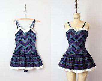 vintage 50s swimsuit / 1950s bathing suit / chevron striped playsuit / skirted swimsuit / dark striped romper / Juniorite swimsuit