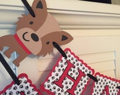 Puppy Birthday Banner/ Red/ Black/ White/ Dog bone/ 1st Birthday/ Garland/ Custom Party Decor/ Name/ Age/ Party Package