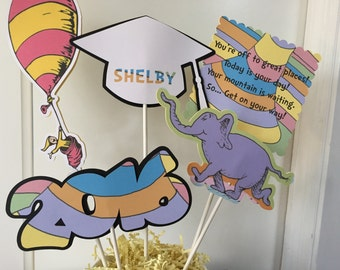 Oh The Places You Will Go Graduation Centerpiece/Cake Topper