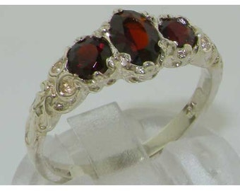 Solid 925 Sterling Silver 3 Genuine Garnet Ring, English Antique Design Carved Ring, Trilogy Band, Stackable Ring - Customizable