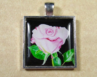 Pink roses necklace etsy rose pendant pink rose necklace rose jewelry rose gifts valentine pendant audiocablefo light ideas