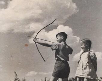Original Antique Photograph The Darling Archers
