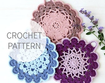 Crochet Pattern - Vintage Crochet Potholder Pattern - US, UK and Swedish terms - PDF file