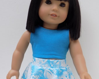 """18"""" doll clothes, Graphic print skater skirt and bright turquoise crop top"""