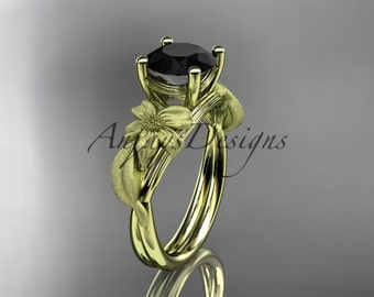 14kt yellow gold leaf and vine engagement ring with a Black Diamond center stone ADLR189