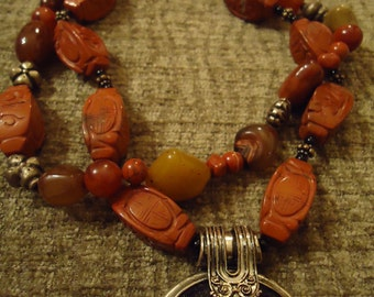 Handcrafted Boho, Southwestern One Of A Kind Chunky Coral Style Necklace