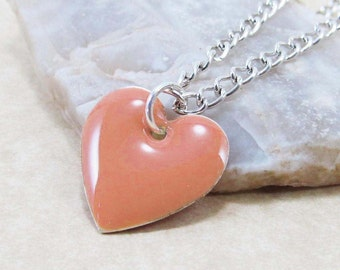 Pendant Charm Necklace - Dark Rose Pink Epoxy Enamel Heart - Sterling Silver Plated over Brass Cable or Ball Chain (J1-8)