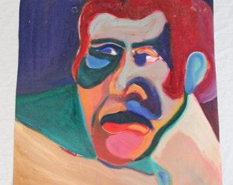 Sumo Man 27x27 Vintage Painting Modernist Abstract Impressionist Portrait Mid Century