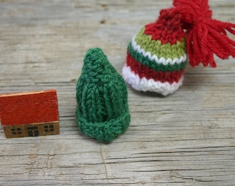 Miniature Hat Set- Red, Green, White- Doll, Small Pet, Bear Hats- Holiday Decor- Hand Knitted- Mini Hats