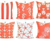 BEACH DECOR, Pillow Cover, Decorative Pillow, Throw Pillow, Accent Pillows, Nautical Pillow Covers, Salmon, Cushion, Coral Pillow. Euro.All