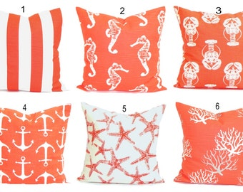 BEACH DECOR, Pillow Cover, Decorative Pillow, Throw Pillow, Accent Pillows, Nautical Pillow Covers, Salmon, Cushion, Coral Pillow. Euro.All