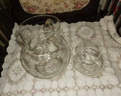 Lower Price Vintage Clear Glass Pitcher Set