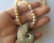 Fossil Ammonite Necklace, Ammonite Pendant,Ammonite Necklace, Fossil Jewelry, Fossil Ammonite And Drusy Pearl Necklace, Drusy Pearl And Opal
