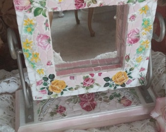 Rose Chevel  Mosaic Tile Vanity Mirror , Cabbage Roses, Shabby Chic, Pink