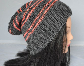 Hand Knit Slouchy Hat Grey with Coral Neon Orange Stripes One Size Adult Teen Ladies