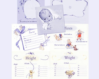 Baby Book Scrapbooking 1940s Baby's First Year in Blue Retro Artwork Firsts Weight Height Announcement Digital Download DIY Baby Book