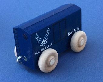 Wooden Toy Train Box Car, U S Air Force.  USAF Toy Train.