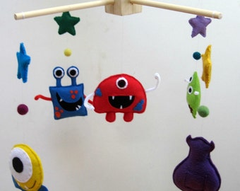 Felt Mosters Mobile, Toy Felt Baby Mobile Wool Felt Baby Mobile for Baby Crib, Kids Playroom or Modern Nursery Decor