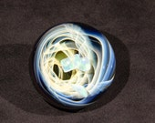 Pale Fumed Vortex with Three tumbled Opals Borosilicate Marble 2.3 inches