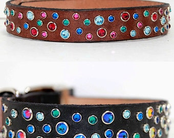 "Design your own Swarovski Crystal Dog Collar, 3/4"" or 1"" wide Leather Dog collar"