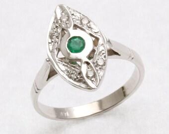 Victorian 14k white gold Emerald & diamond ring green navette long Vintage Reproduction