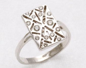 Victorian 14k white gold diamond ring Vintage reproduction 1/4 carat Art Deco rectangle