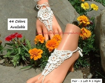 White Barefoot Sandles Footless Sandals Shoes Beach Women Anklet Foot Jewelry Wedding Gift Barefoot Greek Sandals Bridal Barefoot Sandal