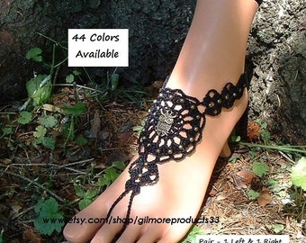 Owl Barefoot Sandals Punk Anklets Foot Jewelry Moonlighter Barefoot Shoes Owl Hand Jewelry Slave Ankle Bracelet Crochet Body Jewelry