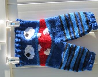 Monster Pants, Newborn Monster Pants, Knit Pants, Baby Pants, Newborn Pants, Knit Monster Pants, Monster Longies, Knit Baby Pants
