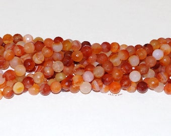 """Carnelian 10.5mm Faceted Round Gemstone Beads - 15.5"""" Strand"""
