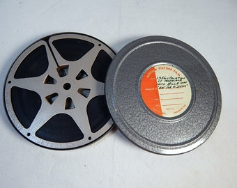 Vintage Movie Canister and Reel Dual 8 Compco Chicago Gray Silver Gun Metal 1950's with Film Home Theater Decor #1