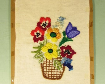 Flower Basket Needlepoint - Vintage Linen Bright Colors Ready to Frame