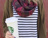Infinity Scarf: Berry & Olive Plaid Flannel