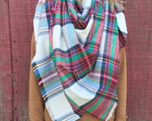 Large Blanket Scarf: Multi-Colored Plaid Flannel