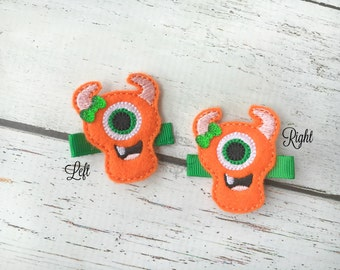 Monster Hair clip Halloween hair clippie Pick one or two. Pick Left side or Right.