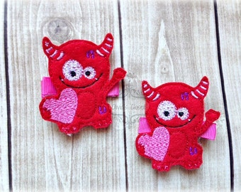 Monster Hair Clip Valentines Hair Clippie Love Monster Hair Clip Pick one or two. Pick Left side or Right.