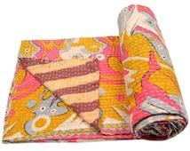 Vintage Heavy Kantha Quilt Gudri Reversible Throw Ralli Bedspread Bedding India OG120