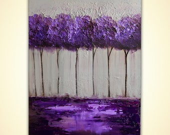 Modern Abstract Painting Purple Lavendar Gray Acrylic Painting Palette Knife Modern Acrylic Impasto Landscape by Osnat Tzadok