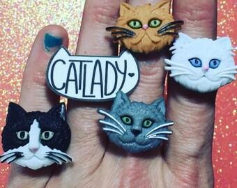 Cat head ring crazy cat lady adjustable ring weirdo unique creepy