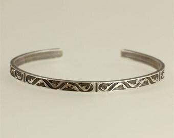 Patterned Sterling Silver Cuff Bracelet, Aged Silver Cuff, Skinny Cuff, Southwestern Cuff, Southwestern Bracelet