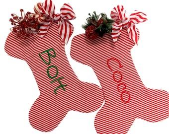 Red and White Stripe Dog Bone Christmas Stocking, Dog bone Christmas Stocking, Personalzied Pet Christmas Stocking, Dog Bone Pet Stocking