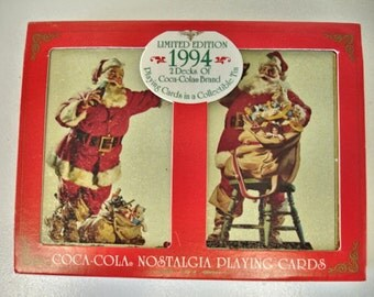 1994 Santa Claus Coca Cola Playing Cards Mint In Box And Tin Christmas Cards Limited Edition