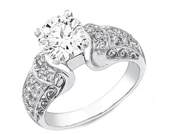 GIA Certified Round Cut Diamond Engagement Ring 3.25ctw Pave Setting 14k Gold